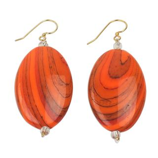 Handcrafted Upcycled Plastic 'Rustic Love in Orange' Earrings (Ghana)
