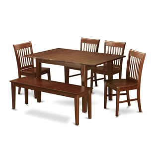 PSNO6C-MAH 4-chair and Bench 6-piece Dining Table Set