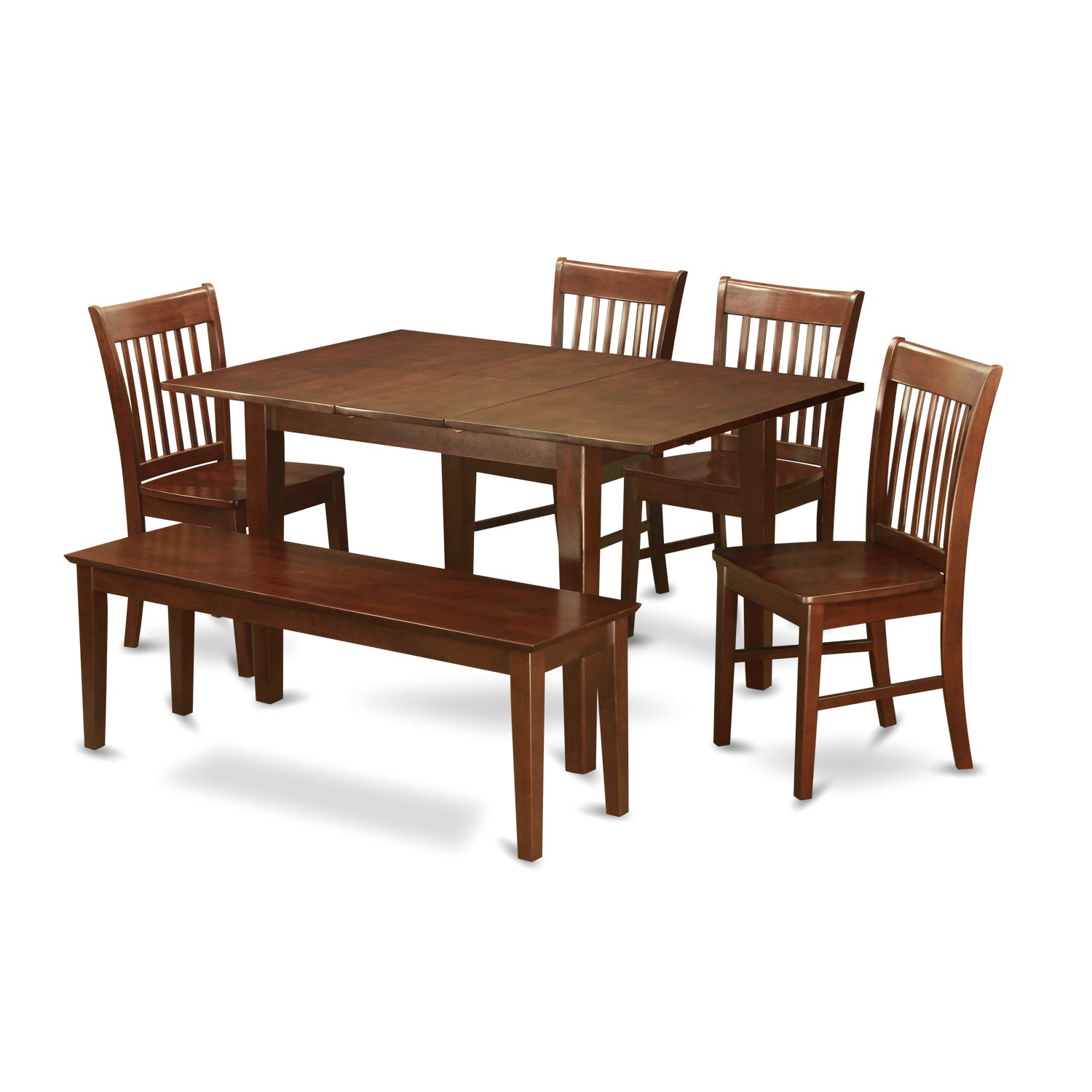 Excellent Psno6C Mah 4 Chair And Dining Bench 6 Piece Dining Table Set Creativecarmelina Interior Chair Design Creativecarmelinacom