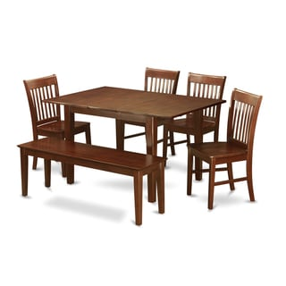 PSNO6C-MAH 4-chair and Dining Bench 6-piece Dining Table Set