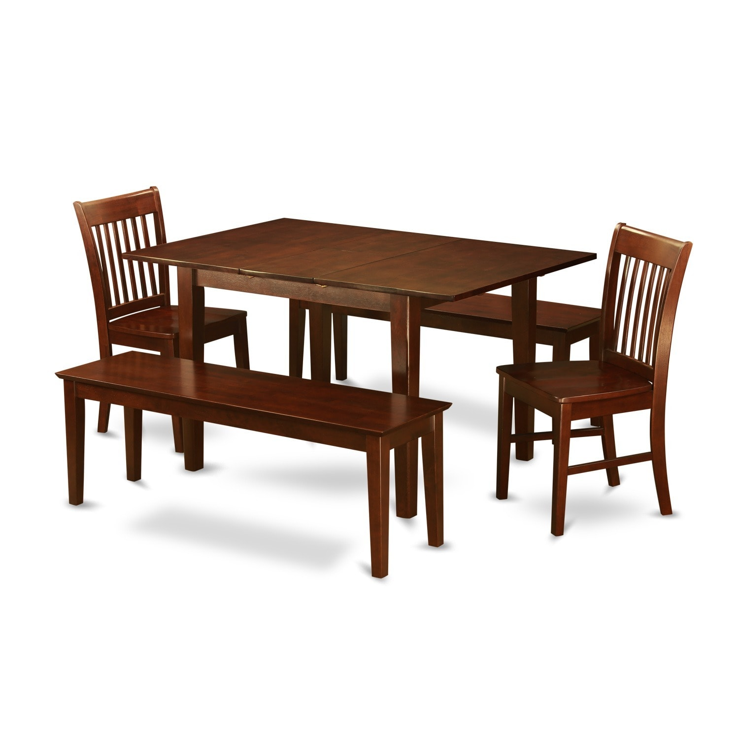 Brown Rubberwood 5-piece Dining Table Set with Dining Ben...