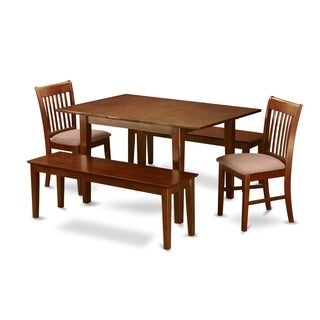 Brown Rubberwood 5-piece Dining Table Set with Benches