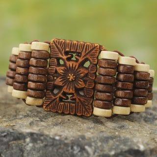 Handcrafted Recycled Plastic Sese Wood 'Kumasi Blossom' Bracelet (Ghana)