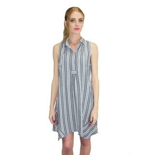 Relished Women's Blue Cotton and Linen Striped Trapeze Dress