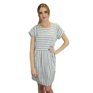 Relished Women's Easy Breezy Grey Striped Boardwalk Dress
