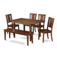 Brown Rubberwood 6-piece Dining Table Set with Dining Bench