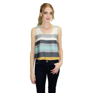 Relished Women's Multicolored Polyester Satin Stripe Crop Top