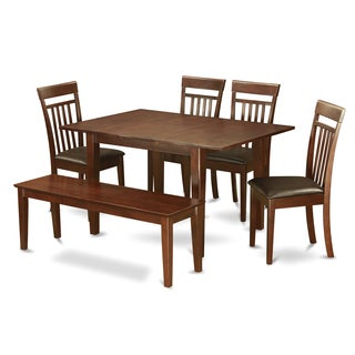 PSCA6C-MAH Mahogany Finish 4-chair and Bench 6-Piece Dining Table Set