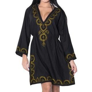 La Leela Golden Embroidered Rayon V Neck Beach Bikini Cover up Top Tunic Kaftan Black