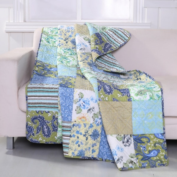 Greenland Home Fashions  Heirloom Jade 50-inch x 60-inch Authentic Patchwork Throw