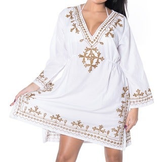 La Leela EMBROIDERED TOP RAYON SWIMSUIT V Neck Bikini Cover up TUNIC Kaftan White Brown