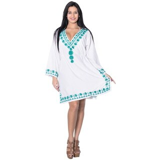 La Leela Women's Embroidered Long Sleeve Beachwear Bikini Swimwear Cover up Short Dress