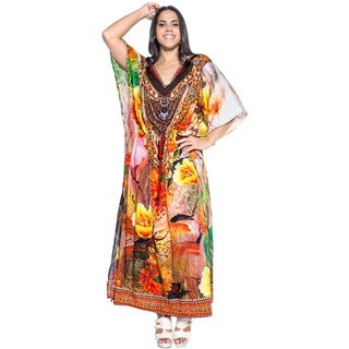 La Leela Soft Likre Traditional Crafted Beach Evening Dress Long Kaftan Brown