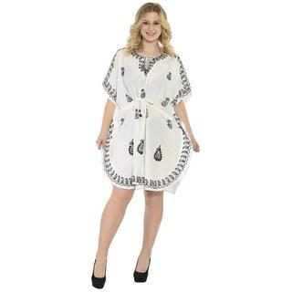 La Leela RAYON White Designer Embroidered Night Gown Kaftan Caftan Bikini Cover up