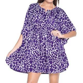 La Leela SOFT Likre Elasticated TUNIC Swimwear Short Beach Dress Bikini Cover up Purple