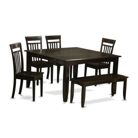 PFCA Cappuccino-colored Rubberwood 6-piece Dining Table Set with Leaf