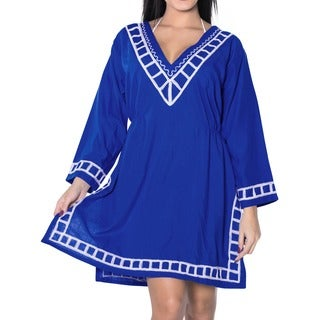 La Leela RAYON Embroidered Plain Designer Beach Bikini Cover up Casual Top Royal blue