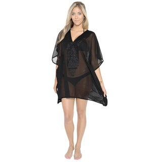La Leela Sheer Chiffon Sequin Solid Black Beach Matte Top Bikini Cover up Women Black