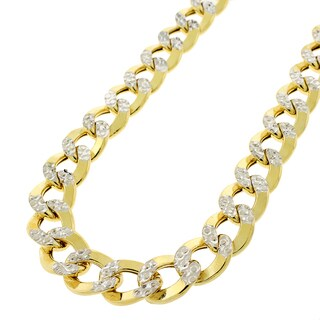 """14k Yellow Gold 11mm Hollow Cuban Curb Link Diamond Cut Two-Tone Pave Necklace Chain 24"""" - 28"""""""