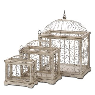 Urban Designs Versailles Off-white Weathered Metal Decorative Bird Cages (Set of 3)