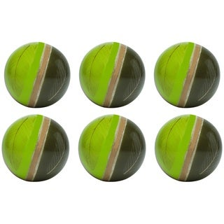 Red Vanilla Fossilized Green Leaves Acrylic Pack of 6 4-inch Decorative Balls
