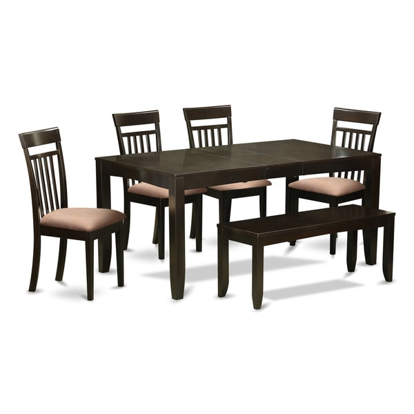 Kitchen Table Bench With Back: Shop LYCA6-CAP 4-chair And Dining Bench 6-piece Kitchen Dining Set With Leaf