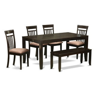 LYCA6-CAP 4-chair and Bench 6-piece Kitchen Dining Set with Leaf