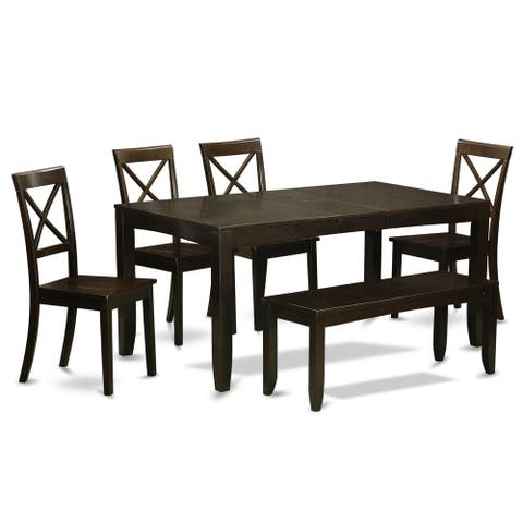 LYBO6-CAP Cappuccino Finish 4-chair and Dining Bench 6-piece Kitchen Dining Set with Leaf