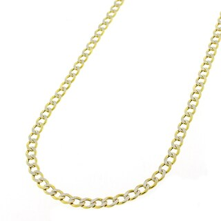 """14k Yellow Gold 3.5mm Hollow Cuban Curb Link Diamond Cut Two-Tone Pave Necklace Chain 16"""" - 24"""""""