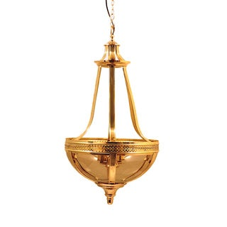 Horizon French Empire Brass and Smoke Glass Chandelier