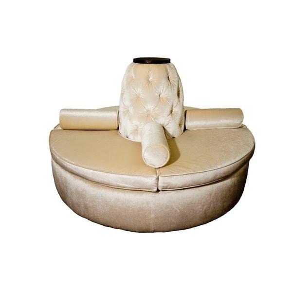 Beige Microfiber Blend Wood Round Settee Sofa Free Shipping