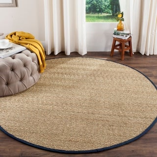Safavieh Casual Natural Fiber Natural / Blue Seagrass Rug (6' Round)