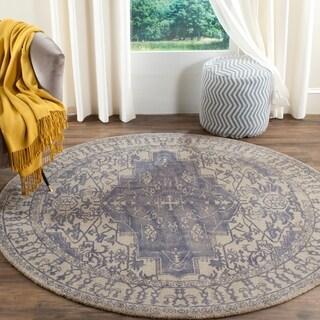 Safavieh Handmade Restoration Vintage Oriental Blue/ Grey Wool Rug (6' Round)