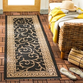 Safavieh Courtyard Scrollwork Black/ Natural Indoor/ Outdoor Rug (2'4 x 14')