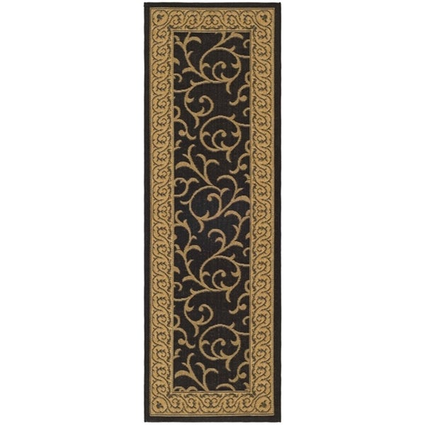 Safavieh Courtyard Scrollwork Black/ Natural Indoor/ Outdoor Rug - 2'4 x 14'