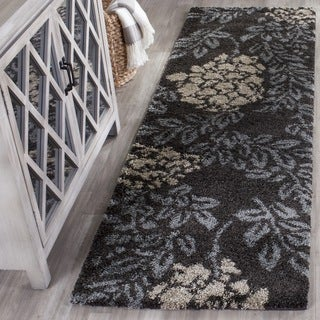 Safavieh Ultimate Shag Dark Brown/ Slate Grey Floral Runner (2'3 x 11')