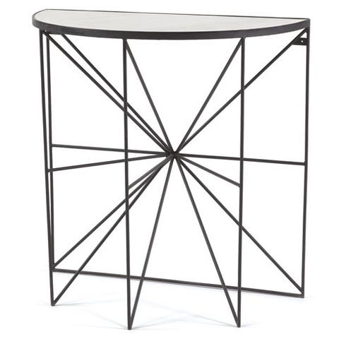 Powder-Coated Marble Top Console Table