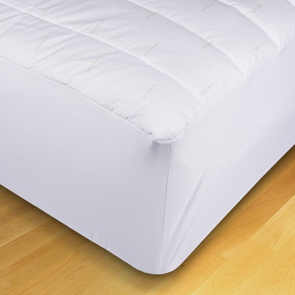 EcoPure Cotton Mattress Pad with Recycled Fiber Fill - White