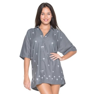 La Leela Women's Grey Palm Tree Embroidered Rayon Button-front Shirt