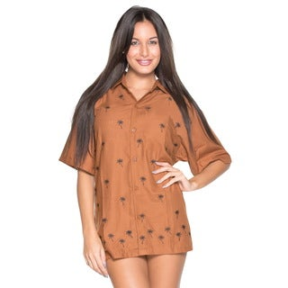 La Leela Women's Brown Rayon Button-down Embroidered Palm Tree Casual Shirt