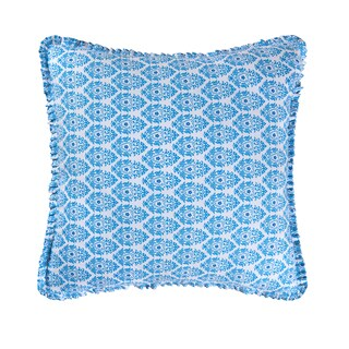 Madeline Collection Blue Cotton 26-inch Square Euro Sham