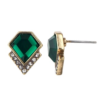 Geometric Simulated Emerald Crystal Stud Earrings