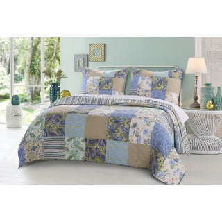 Greenland Home Fashions Heirloom Jade Authentic Patchwork Reversible Quilt Set