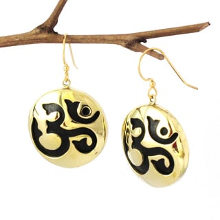 Spirit Tribal Fusion Brass OM Dangle Earrings (Indonesia)