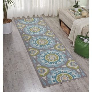 Waverly Sun N' Shade Solar Flair Jade Indoor/ Outdoor Rug by Nourison (2'3 x 8')