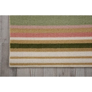 Waverly Sun N' Shade Paddock Shawl Light Green Area Rug by Nourison (1'10 x 6')