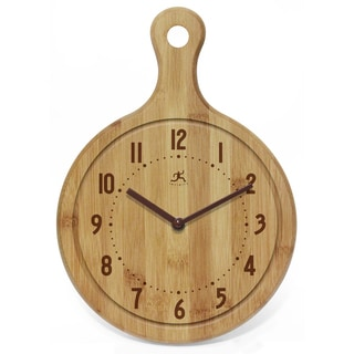 Infinity Clocks Chef Collection Bamboo Wood 12.75-inch x 9-inch x 2-inch Cutting Board Wall Clock