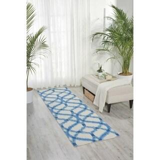 Waverly Sun N' Shade Izmir Ikat Aegean Indoor/ Outdoor Rug by Nourison (2'3 x 8')