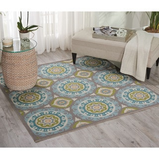 Waverly Sun N' Shade Solar Flair Jade Indoor/ Outdoor Rug by Nourison (7'9 x 7'9)