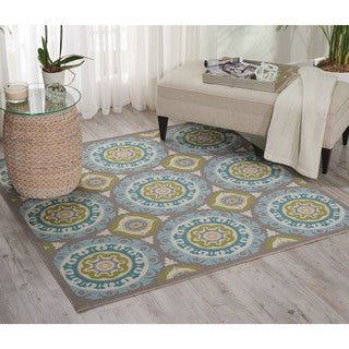 Waverly Sun N' Shade Solar Flair Jade Indoor/ Outdoor Rug by Nourison (5'3 x 5'3)